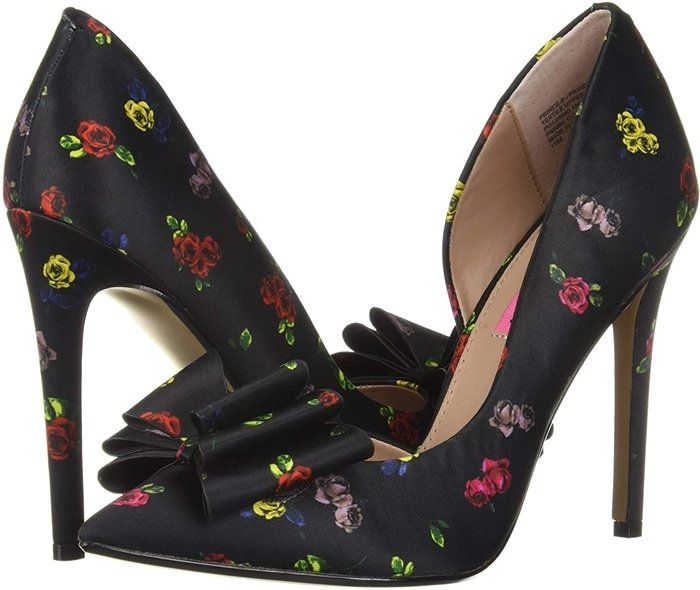 This classic d'Orsay Betsey Johnson Prince-P gets a fierce upgrade with a layered bow on top of a dramatic print and pop of color on the stiletto heel