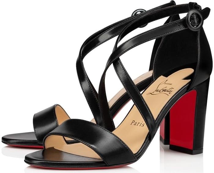 Black Loubi Bee 85 Leather Sandals