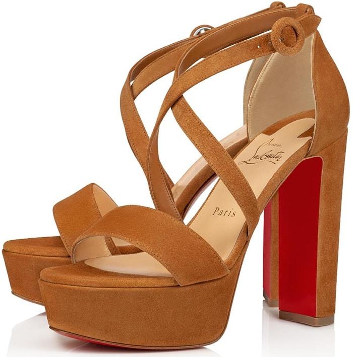 Brown Suede Loubie Bee Alta Strappy Platform Sandals