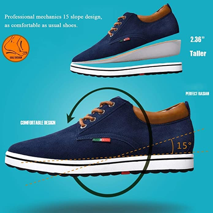 A combination of elevator shoes that offer both lifts inside and slightly higher heel height for a more natural look that also makes you look taller