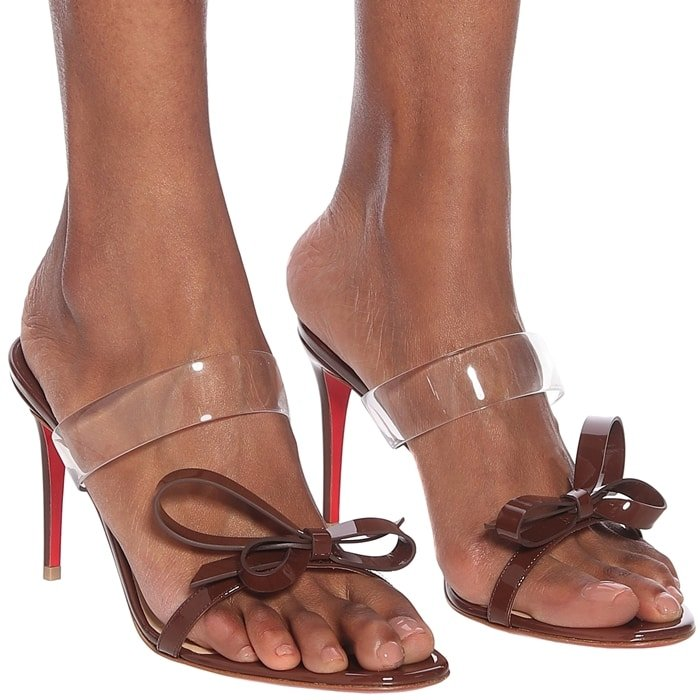 High-Shine Brown Patent Leather Just Nodo Sandals