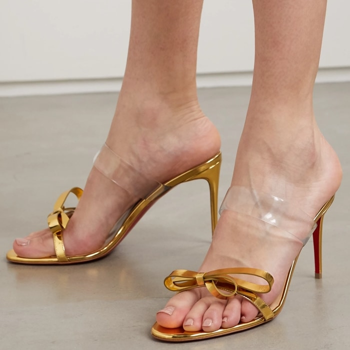 Gold Metallic Just Nodo Mirrored-Leather and PVC sandals