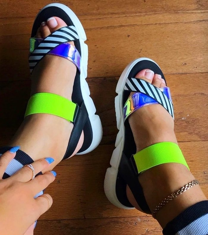 Sport Dirty Laundry All Time sandals featuring a synthetic and textile upper with striped and holographic detailing