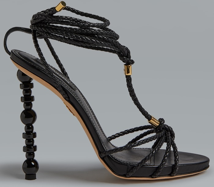 Black Woven Strappy High Heel Sandals