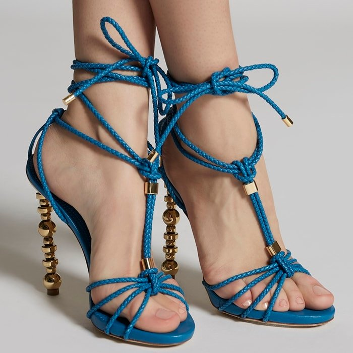 Blue Woven Strappy High Heel Sandals