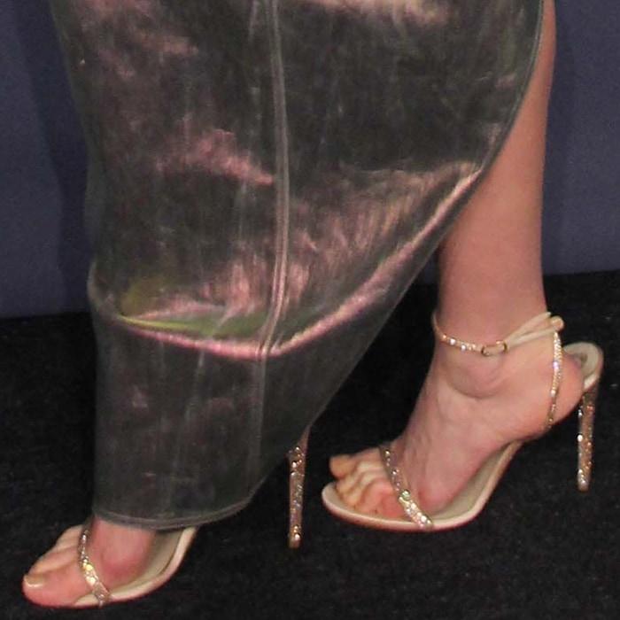 Elsa Hosk's sexy feet in Rene Caovilla Ellabrita crystal sandals