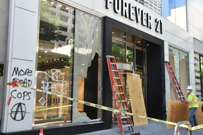 Groups of protesters looted stores in Center City Philadelphia