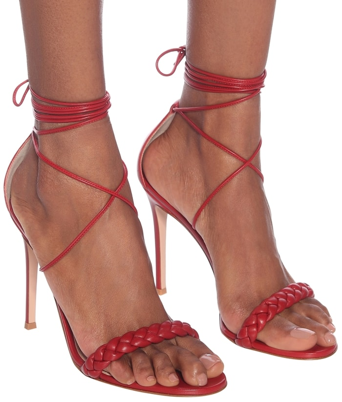 Braided stiletto heel sandals made from supple lamb leather with comfortable padded insoles
