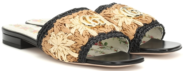 Gucci floral raffia and leather sandals