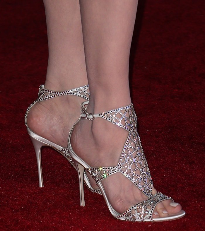 Geena Davis' size 11.5 big feet in crystal-embellished caged sandals