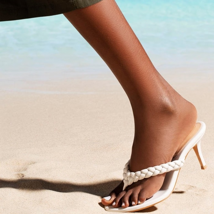 Gianvito Rossi's Tropea heeled leather thong sandals featured braided straps