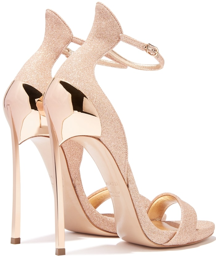 Casadei's Gold Rose City Light Techno Blade Cappa Sandals