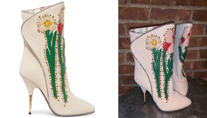 Gucci Fosca crystal-embellished off-white boots