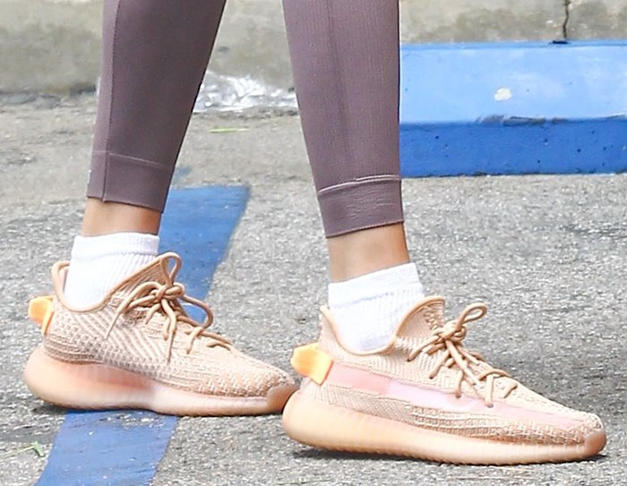 Hailey Bieber completes her athleisure look with Adidas Yeezy sneakers