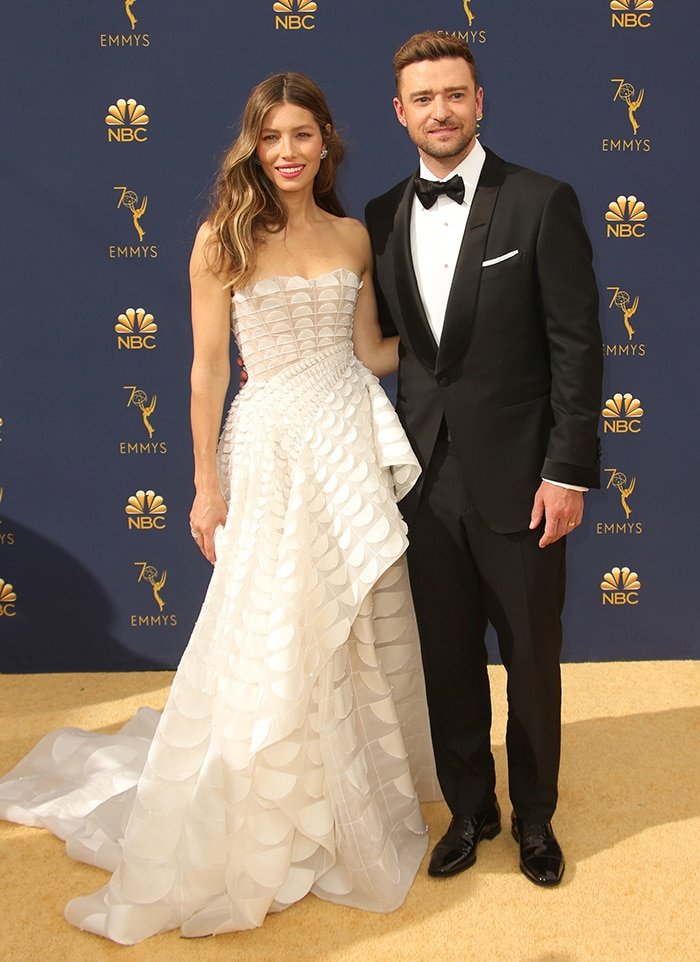 Jessica Biel and husband Justin Timberlake at the 70th Primetime Emmy Awards on September 17, 2018