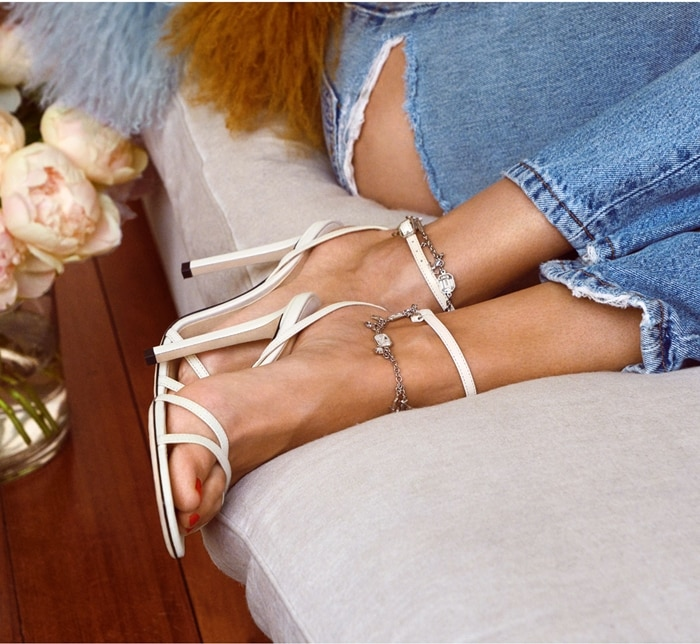 Jimmy Choo Metz Latte Nappa Leather Sandals With JC-Chain Embellishment