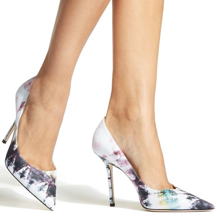These multicoloured Love 100mm tie-dye print pumps from Jimmy Choo feature a pointed toe, a branded insole, a high stiletto heel, a slip-on style and a tie-dye print