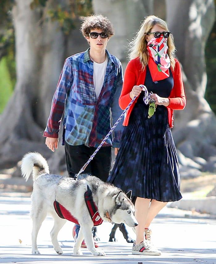 Laura Dern and her son Ellery Harper walk their dogs around their Pacific Palisades neighborhood
