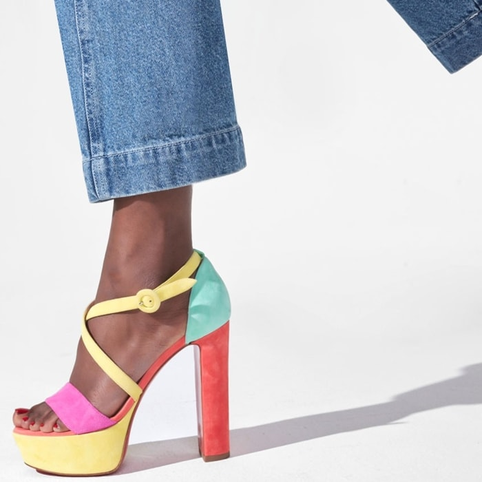 Strappy platform leather sandals crafted of a luscious blend of suede and leather in a vibrant colorblock design