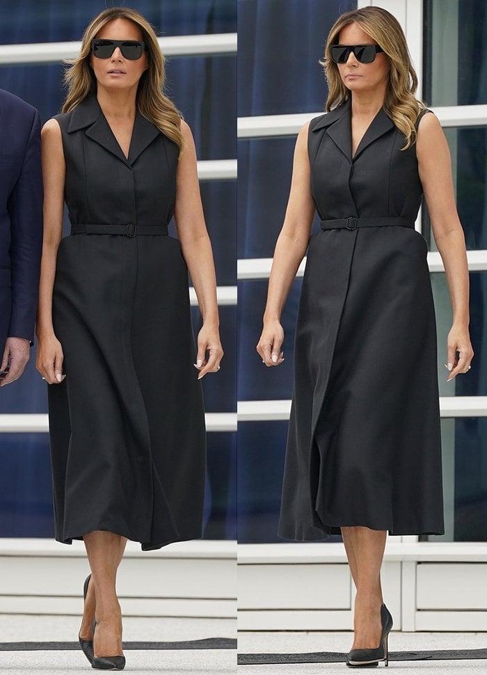 Melania Trump wears a black Dior sleeveless dress