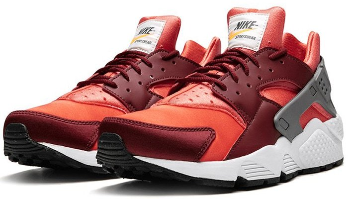 Nike Air Huarache sneakers in red, burgundy, and gray