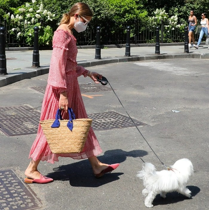 Wearing a red and white summer dress, Olivia Palermo takes her dog, Mr. Butler, out for a walk in Brooklyn