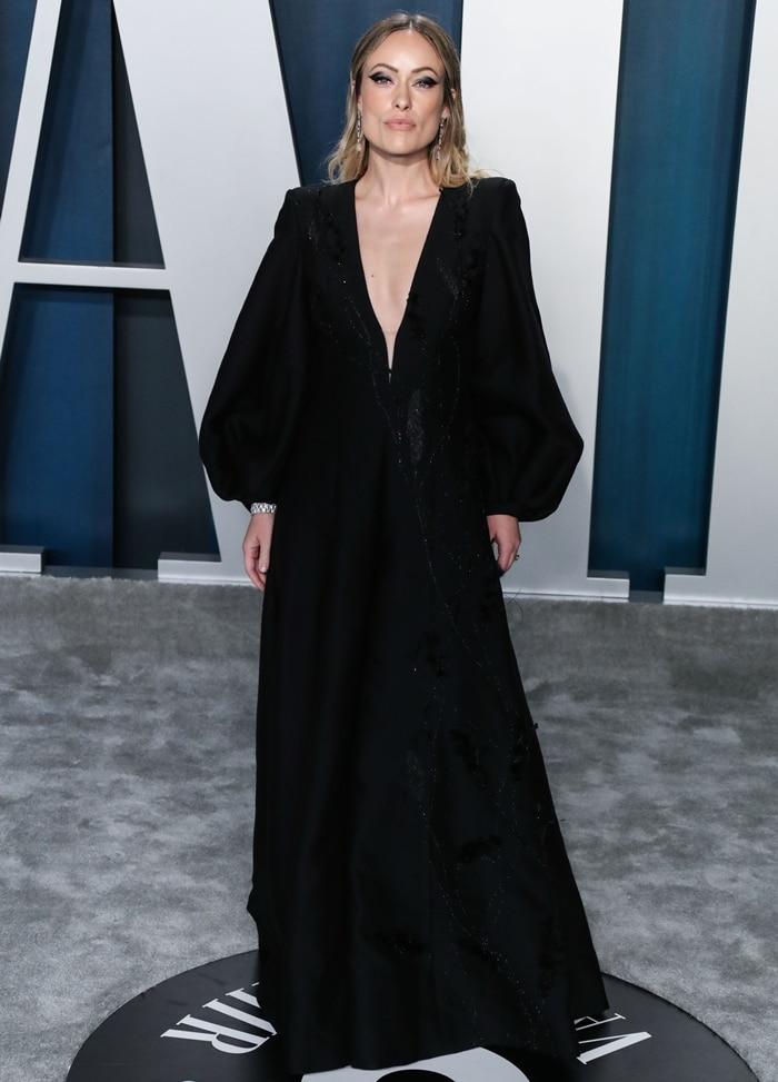 Olivia Wilde arrives at the 2020 Vanity Fair Oscar Party
