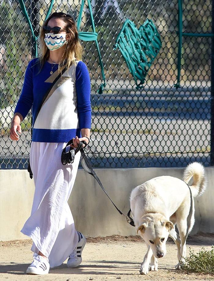 Olivia Wilde wears a wave-patterned face mask for protection against COVID-19