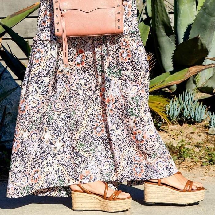 Rebecca Minkoff's Sasha maxi dress styled with espadrille-inspired platform wedges