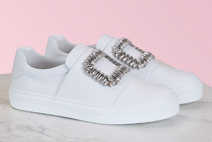 Roger Vivier 'Sneaky Viv' Strass Buckle Sneakers in Leather