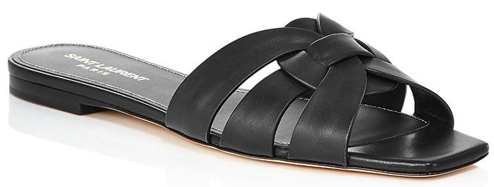 Saint Laurent 'Nu Pieds' Leather Slide Sandals