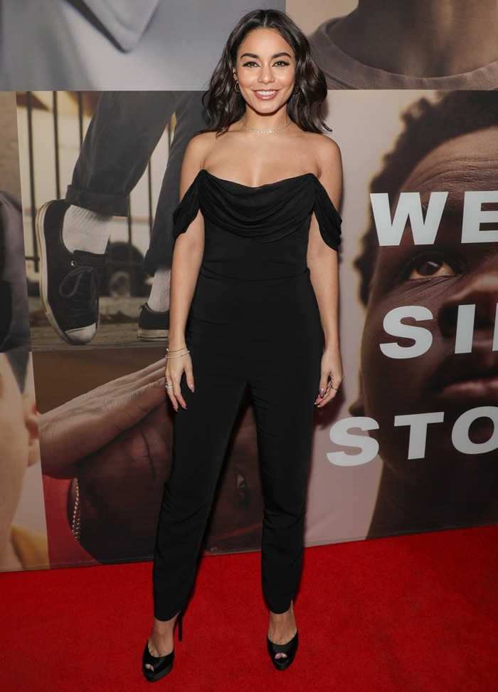 "Vanessa Hudgens attends the opening night of ""West Side Story"" at Broadway Theatre"