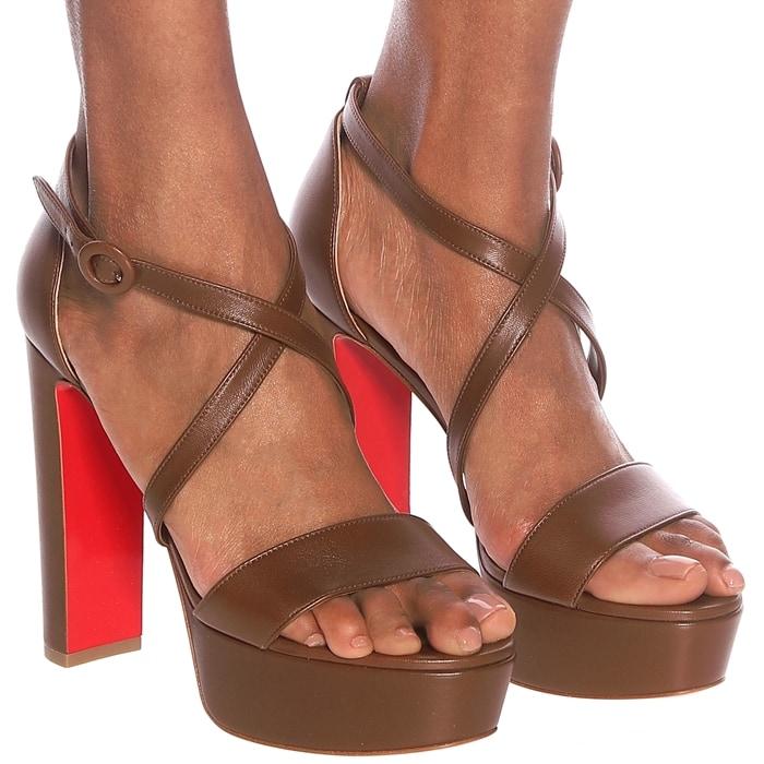 Warm-Brown Calf Leather Loubie Bee Alta Strappy Platform Sandals