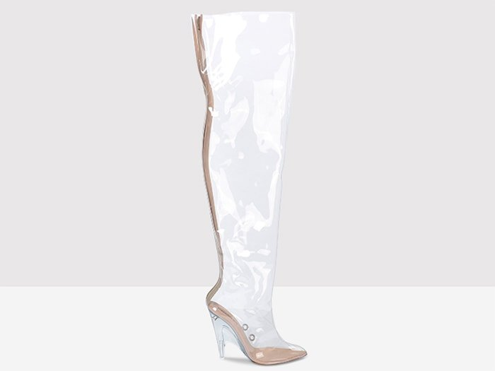 Yeezy over-the-knee PVC and lucite boots