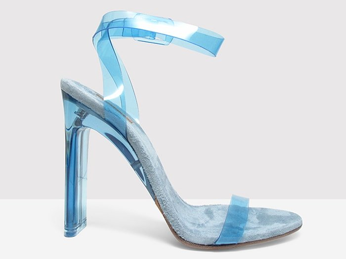 Yeezy light blue lucite and PVC sandals