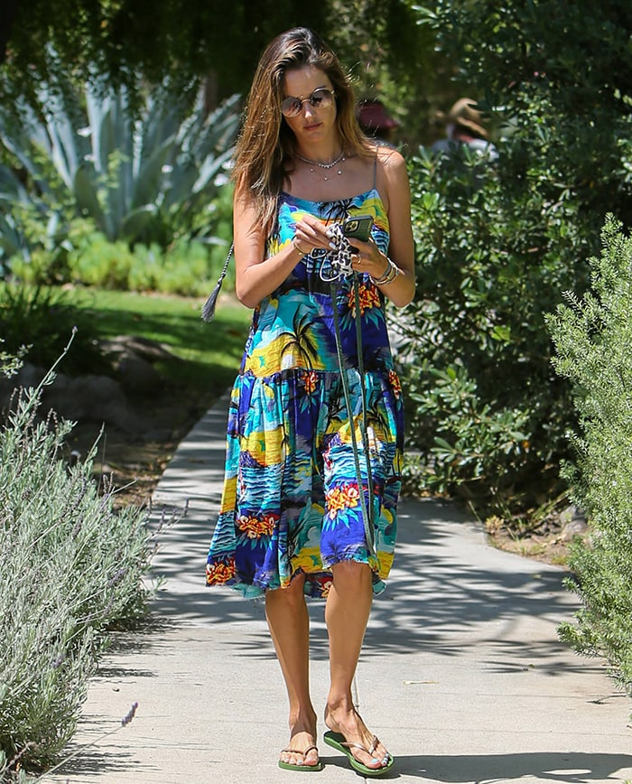 Alessandra Ambrosio steps out for a stroll in Los Angeles on July 9, 2020