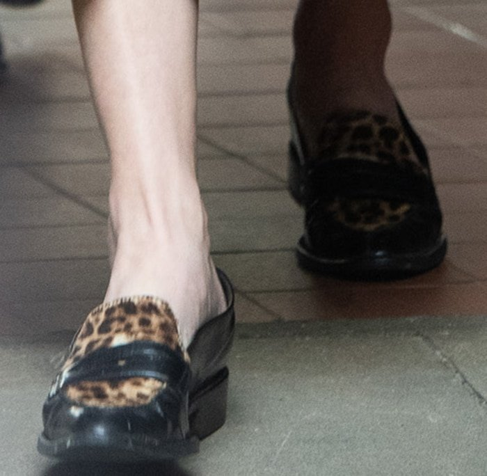 Amber Heard in Tod's leopard calf-hair penny loafers