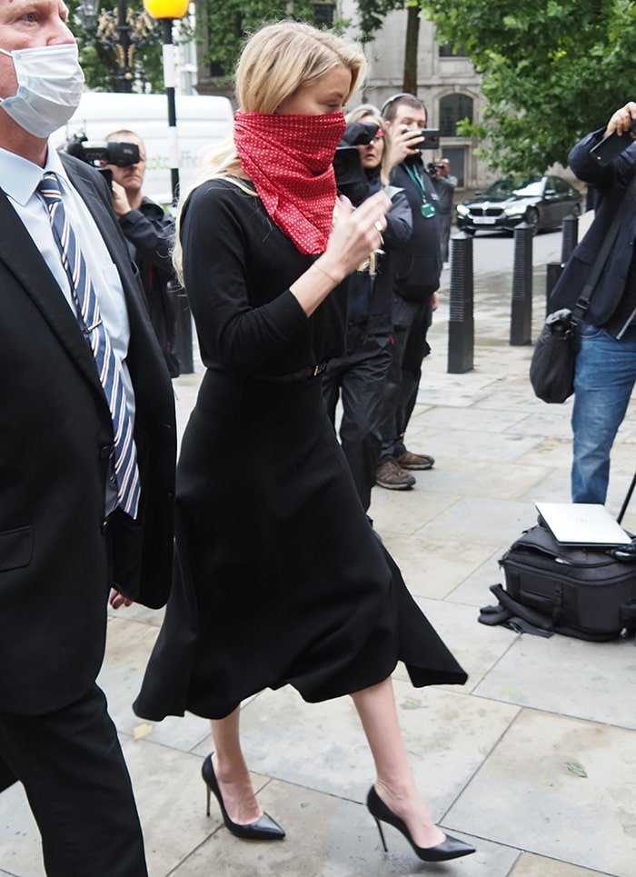 Amber Heard dons a similar black dress for the second day of trial in London on July 8, 2020