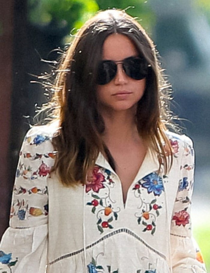 Ana de Armas keeps a low-key look with Gucci sunglasses and her dip-dyed hair worn down