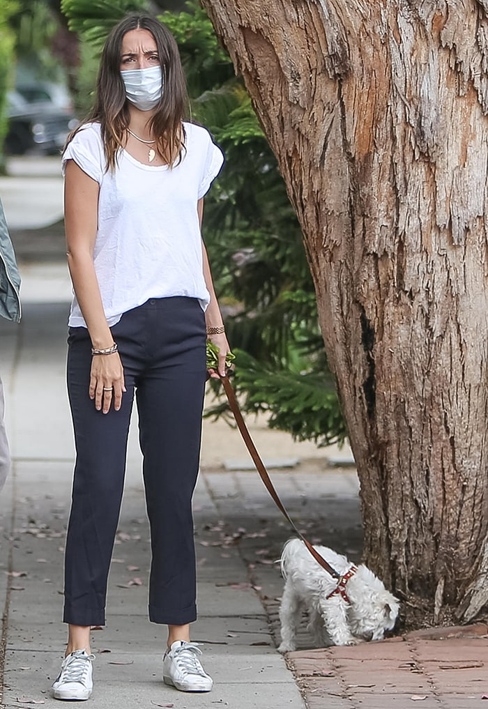 Ana de Armas leaves her new pup at home as she takes her Maltipoo Elvis out for a walk in Los Angeles on July 24, 2020