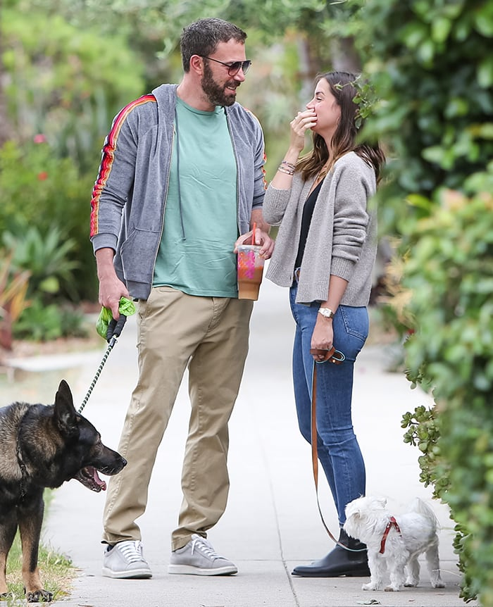 Ben Affleck and Ana de Armas walk their dogs around their Venice neighborhood in Los Angeles on July 1, 2020