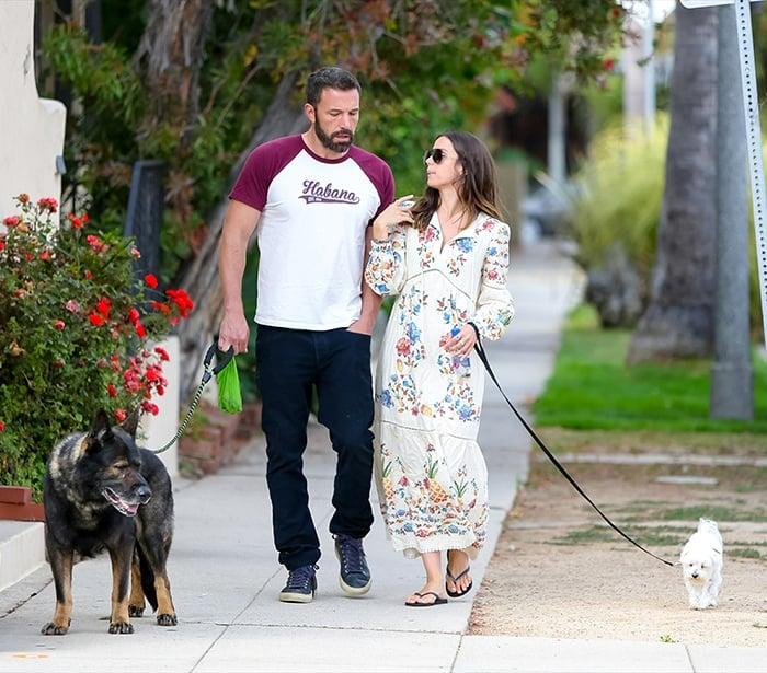 Ben Affleck and Ana de Armas walk their dogs around their Venice neighborhood on June 30, 2020