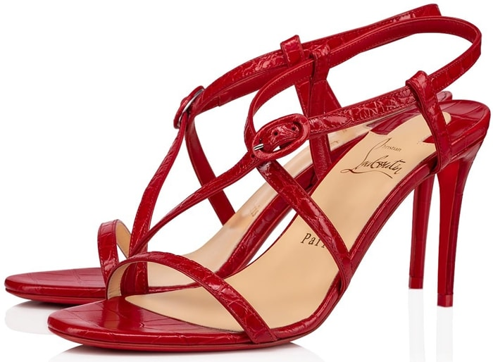 Sleek red croc-embossed leather sandals with a buckled slingback detail
