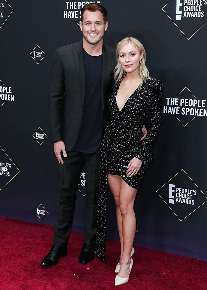 Colton Underwood and Cassie Randolph arrive at the 2019 E! People's Choice Awards on November 10, 2019