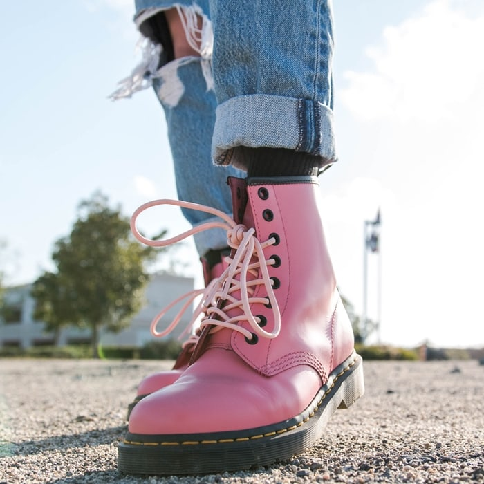 Dr. Martens's iconic boots get a bold update in bright-pink leather