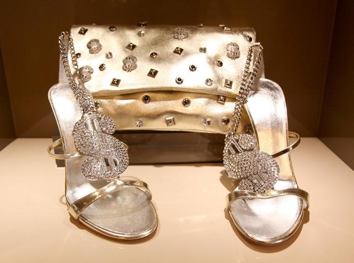 These dollar-sign-motif Swarovski crystal-encrusted heels from Giuseppe Zanotti make a statement