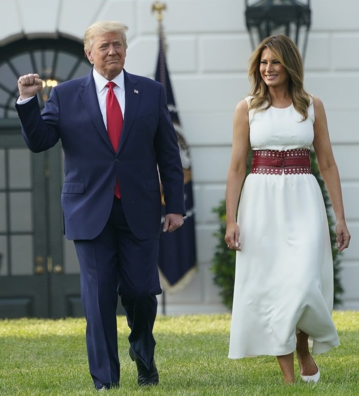 Donald Trump and Melania Trump wear patriotic colors for the Independence Day celebration