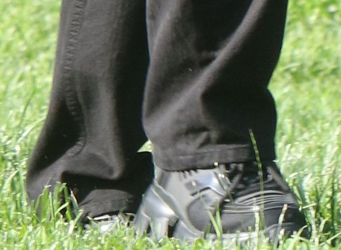 Dua Lipa completes her picnic look with Prada chunky sneakers