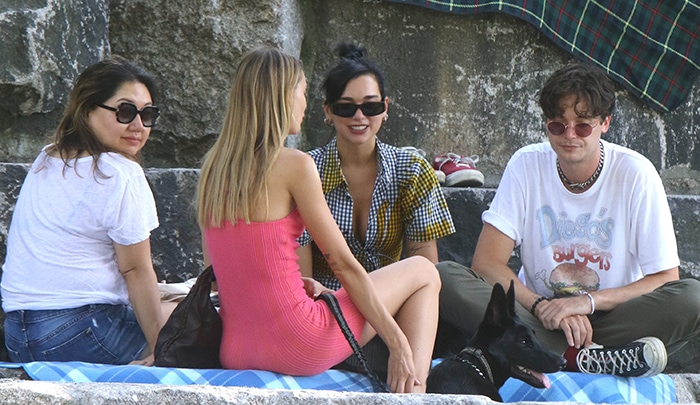 Dua Lipa steps out for a picnic with her friends at Brooklyn Bridge Park in New York City on July 18, 2020