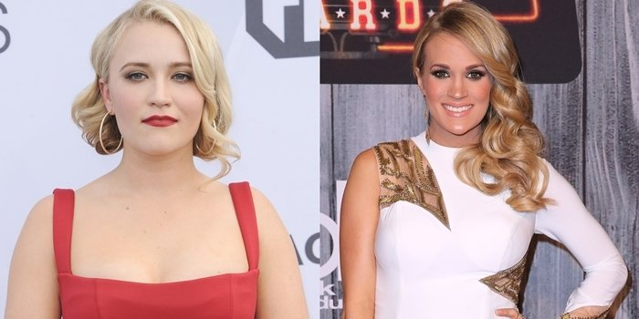 Emily Osment in a red Rachel Gilbert dress at the 2019 Screen Actors Guild Awards (L) and Carrie Underwood in an Xtreme gown at the 2014 American Country Countdown Awards (R)